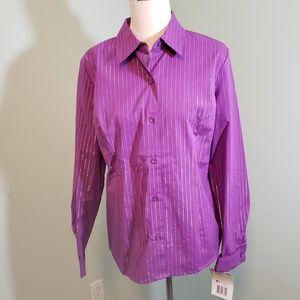 Purple Silver Striped Blouse